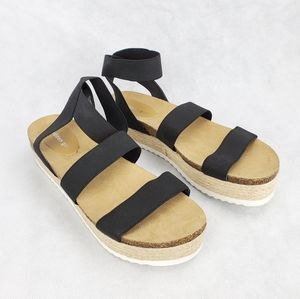 Madden Girl Espadrilles Sandals Platform Black